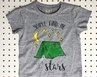 Kids Camping Graphic Tee - Under the Stars Shirt - Kids Graphic Tee- Toddler T Shirt - Toddler Graphic Tee - Camping Shirt - Kids Nature Tee