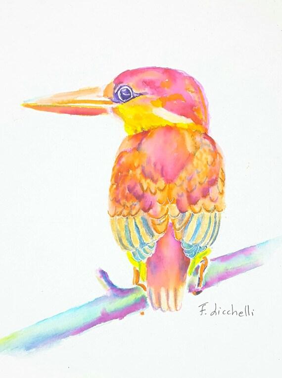 Red bird,watercolour,original,ooak,flowers,24x18 cm.9,5x7 inc.,gift idea,birthday,wall art,decoration,christmas, living, art.