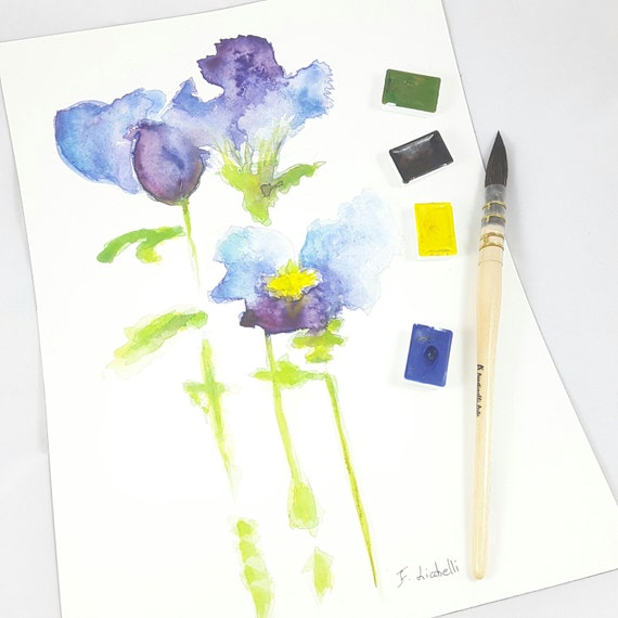 Watercolor, blue iris, reproduction of author, delicate, home traditional decor, bedroom, living, office, shop, art, gift idea for grandma.