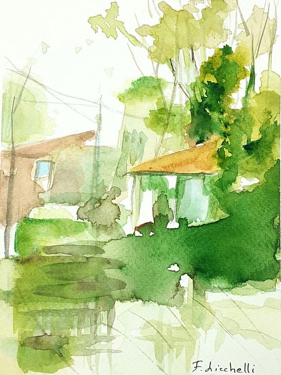 Landscape,RAIN FOREST,watercolor,ooak,15x20 cm./6x8 inc.,gift idea,wall art,home decoration,living,birthday, wedding,anniversary.