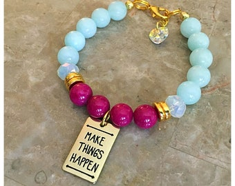 Make Things Happen Beaded Charm Bracelet, Beaded Bracelet, Gemstone Bracelet, Charm Bracelets, Expression Bracelets