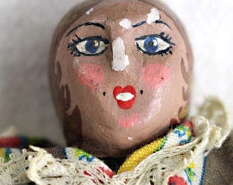 HANDMADE DOLL, Clay Face Doll - very old