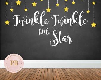 digital twinkle twinkle little star backdrop first birthday backdrop baby shower backdrop chalkboard - Chalkboard Decor