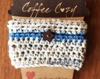 Crochet Coffee Cozy with Decorative Button