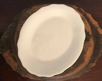Vintage Jackson China White Oval Large Serving Platter with Scalloped Design