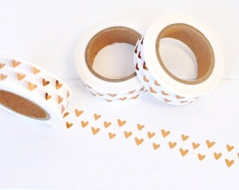 Copper Foil Heart Washi Tape. 15mm x 10m. Valentine's Day Washi. Copper Foil Washi. Hearts Washi. Metallic Heart Washi. Love Washi Tape.