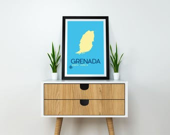 "Grenada Map Travel Poster - 8x10"" Instant Download and Print - Grenada Art Print, Grenada Poster, Travel Poster, Grenada Caribbean Island"