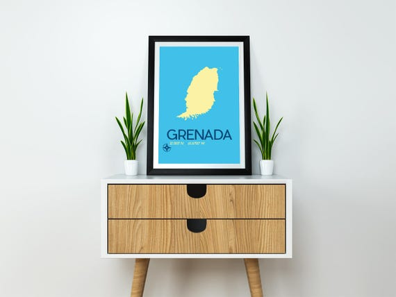 Grenada Map Travel Poster X Instant Download And - Grenada map download