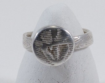 Sterling silver one of a kind cuttlefish cast statement button ring, textured silver, unique, Captain Peter jewellery