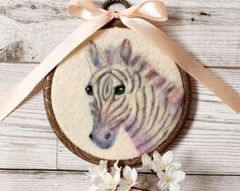 Zebra Wool Painting, Needle Felted Zebra, Zebra Hoop Art, Zebra Wall Hanging, Zebra Décor, Zebra Art, Zebra Nursery Decor, Zebra Lover Gift