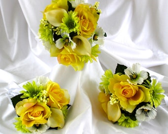 Bridesmaid Bouquet Set, Rose Bridal Flowers, Yellow Rose and White Calla Lily Wedding Bouquet,  Set of Rose  and Calla Lilies Brides Bouquet