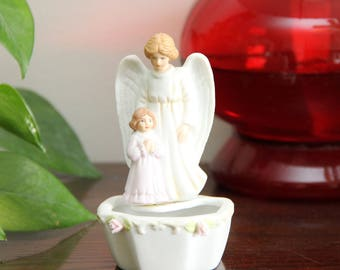 "4 1/2"" Tall Vintage 1989 Bisque Porcelain - Guardian Angel Holy Water Font - Free Shipping"