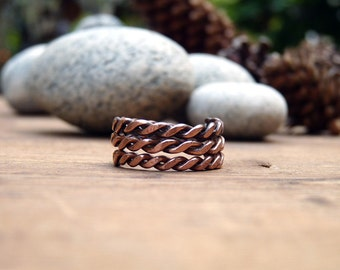 Multistrand copper ring. Hammared copper ring. Steampunk copper ring.Unisex copper ring. Mens copper ring.