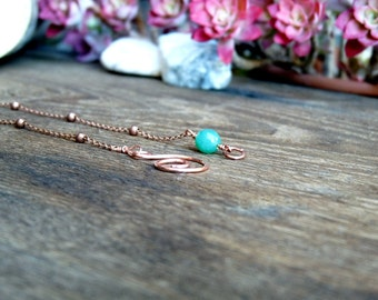 Antique copper necklace with pendant green Aventurine. Gift idea for her. Necklace vintage effect. Antique copper chain.