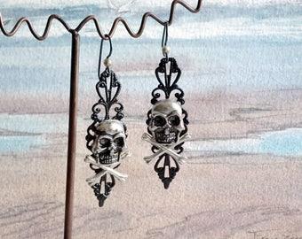 Handmade gothic earrings,  black filigree with  sillvercoour skulls,  black niobium hooks
