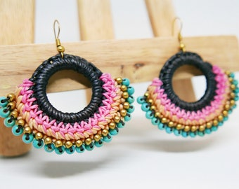 Blue Turquoise Gold Bead Pink Beige Braided Rope I Hoop Dangle Earrings Handmade Jewelry Brass Wire I Hook