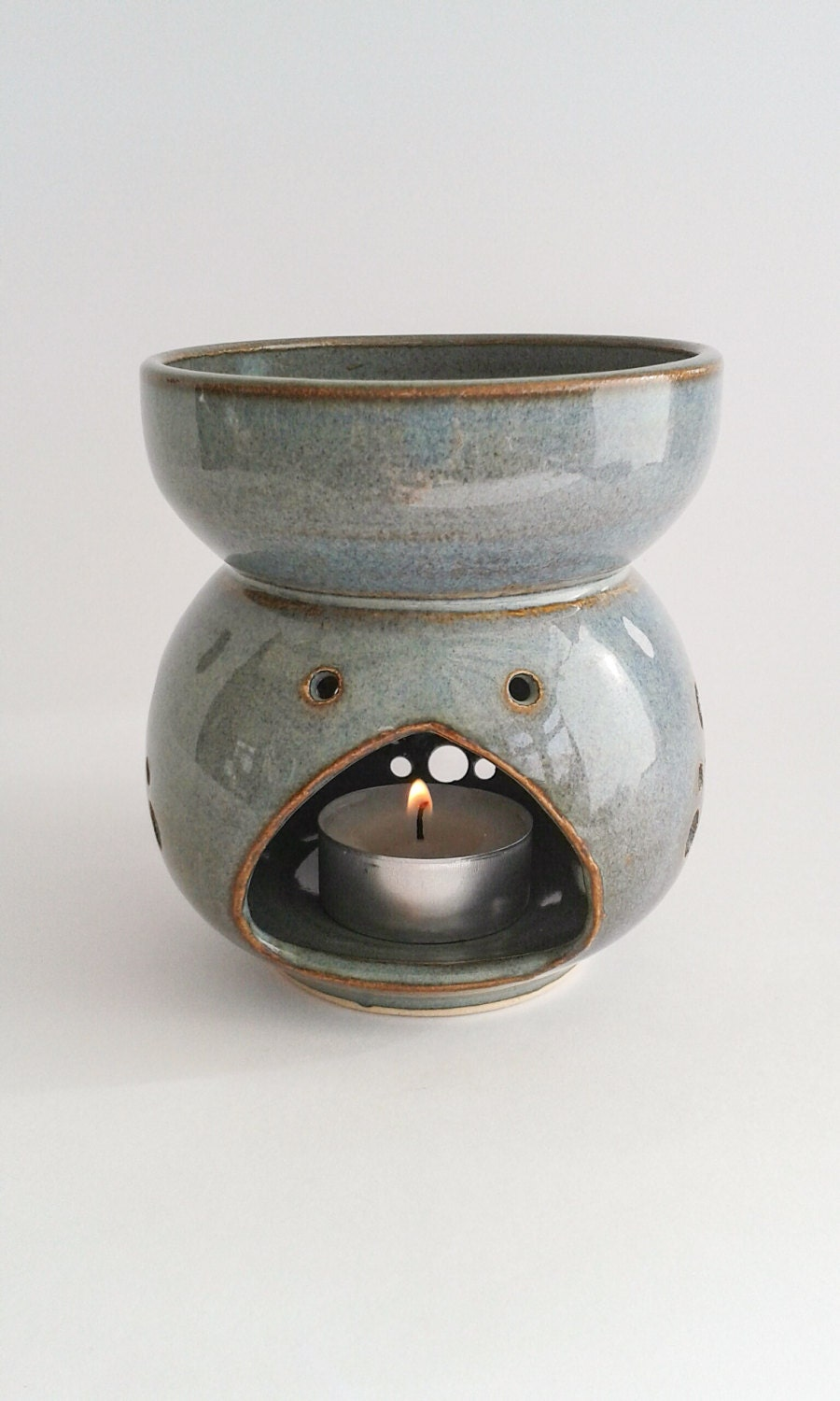 Ceramic Oil Burner ~ Ooak essential oil burner ceramic wheelthrown stoneware