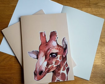 A5 Notebook Giraffe / plain, giraffe, animal