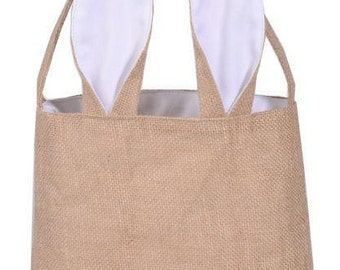 """Easter Bunny Ears Bags Dual Layer Jute and Cloth Material Size 9.5"""""""