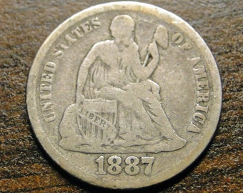 1887 Seated Liberty Dime -  C