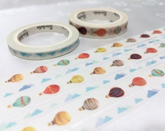 2 rolls sky blue hot air balloon washi tape 5M colorful hot air balloon sunny cloud sky fun travel sunny day trip planner sticker tape