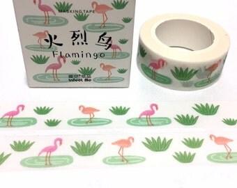flamingo washi masking tape 7m bird resting pink bird green grass flamingo bird deco masking tape green lake bird decor sticker tape