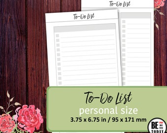 To Do List PERSONAL, Personal Planner, Filofax Personal, Compact, Kikki K Medium, Daily To Do, Printable Planner Inserts, Personal Size, PDF