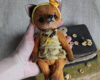 Little fox in style teddy bear Height 6.5  inch (16,5 cm).