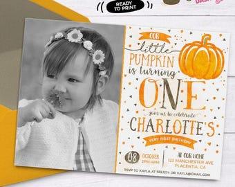 Pumpkin Birthday Photo invitation DIY Pumpkin printable invite pumpkin first Birthday Invitation watercolors