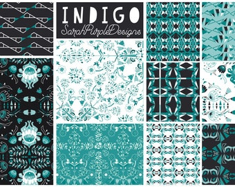 Indigo Digital Papers, Blue Seamless Patterns, Navy Blue Papers, 12x12 Scrapbooking Paper, Instant Download, Floral Digital Paper Hand Drawn