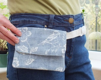 Blue Belt Bag, Hip Purse, Denim Coloured Bumbag, Waist Bag, Money Belt