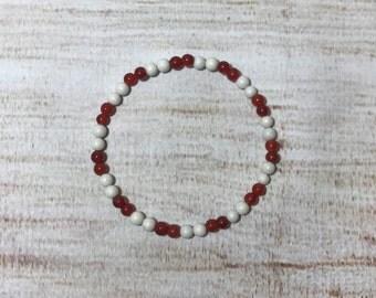 Delicate Red and White Beaded Bracelet, Stacking Bracelet