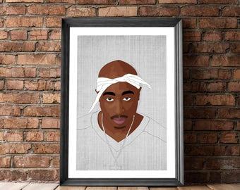 Tupac Poster, Tupac Art Black White, Posters and Prints, Hip Hop Poster, Tupac Print, Tupac Illustration, 2Pac Illustration. Poster Tupac