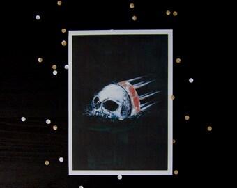 A5 skull giclée art print - crown - acrylic painting - king nothing - bones