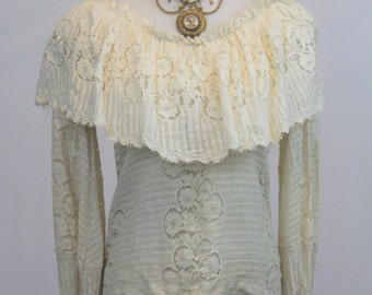 Vintage 70's JOY STEVENS California Fancy Lace Blouse Shirt Victorian gypsy Great Collar