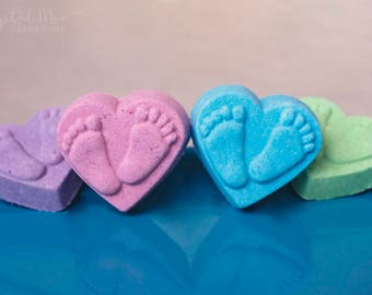 Baby Shower Bath Bombs - Pick Your Scent, Color, and Customized Label - 4 per set