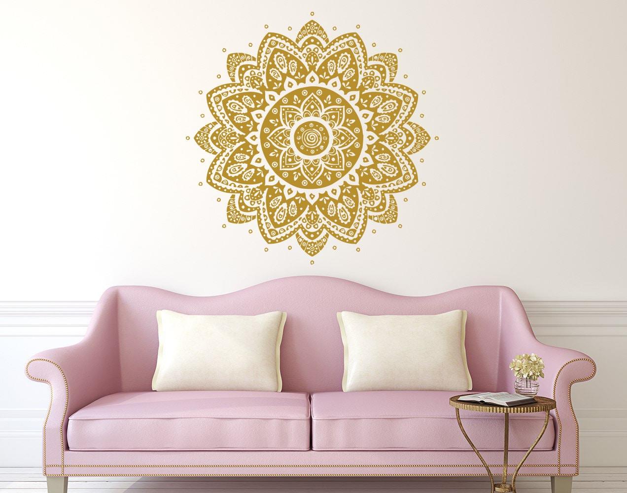 Wall decal mandala vinyl sticker decals lotus flower home - Stickers para decorar paredes ...
