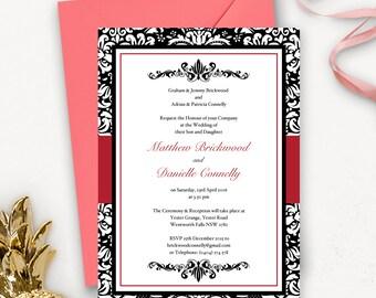 Elegant Printable Wedding Invitation Download  / Classic Wedding Invitation Template / Gothic Wedding Invitations