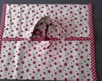 DOOR in Ecru cotton fabric CAKES/bordeaux