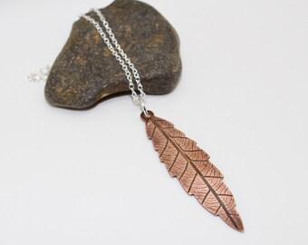 Copper leaf pendant, copper leaf necklace, botanical necklace, garden lover, leaf jewellery, oxidised copper leaf necklace, long necklace
