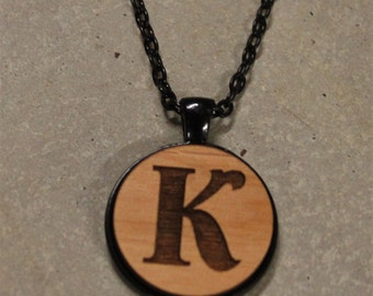 Laser Engraved Initial Necklaces