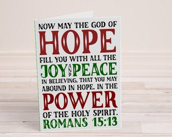 Printable Christmas Card - Romans 15:13 - Hope Joy Peace Power - Red and Green - Christmas Scripture - Christian Cards - Printable Christmas