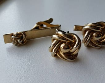 Square Knot Cuff Links and Tie Clip