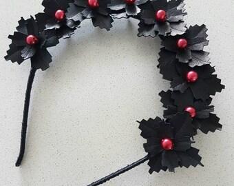 Black and red genuine leather flower crown / fascinator / headpiece / headband