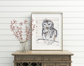 Owl Decor, Wood Wall Art, Printable, digital download, instant download, owl print, owl art,owl printable, watercolor print