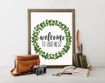 Welcome Wall Decor welcome to our nest | etsy