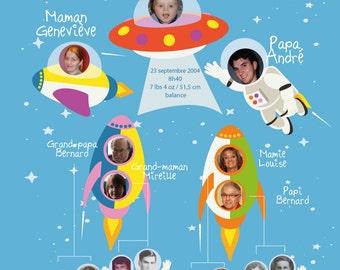 Decorative family tree - Boy / Space