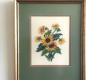 "Sunflower Needlepoint in Vintage Wood Frame - 16.5"" x 13.5"""