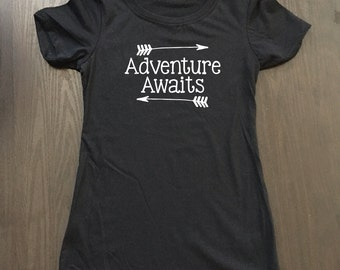Adventure Awaits Shirt - Camping Shirt - Camp Shirt - Vacation Shirt - Hiking Shirt - Adventure Shirt