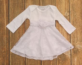 Baptism Dress, Baby Dress, Christening Gown. White Lace Infant Dress, Blessing Dress. Baby Dedication Dress, Baby Girl Wedding Outfit,